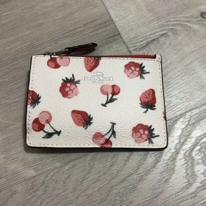 Coach Skinny ID Case Wallet Coin Cute Fruit Print